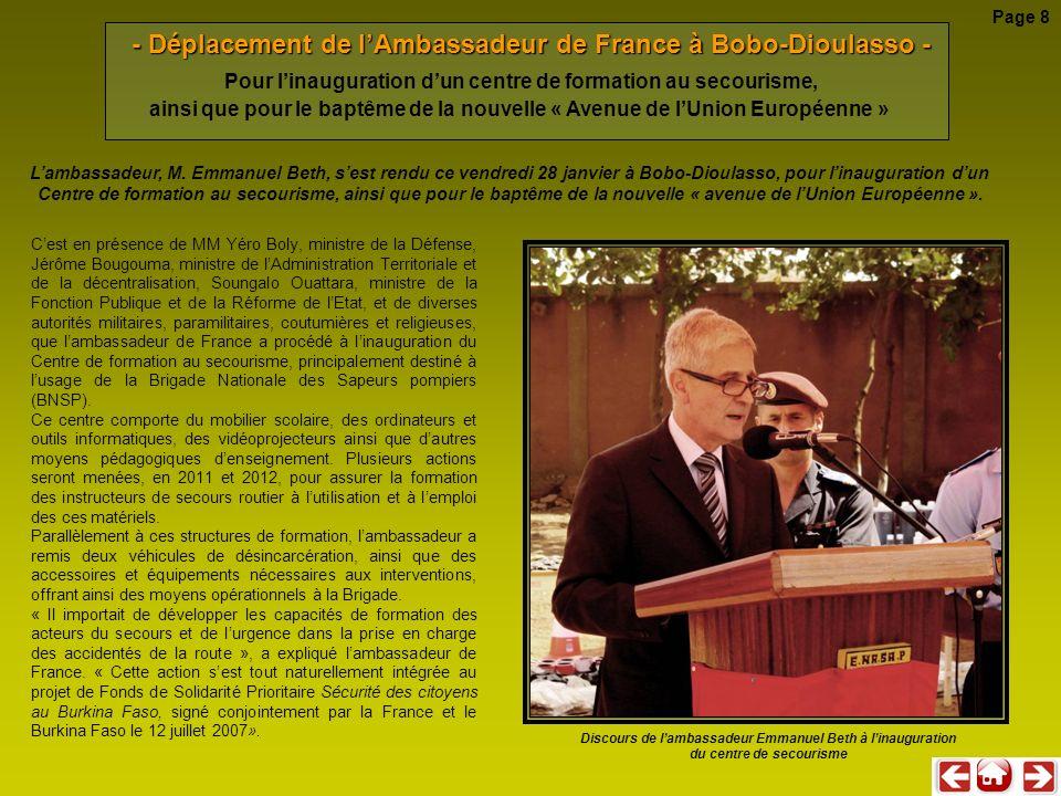 - Déplacement de l'Ambassadeur de France à Bobo-Dioulasso -