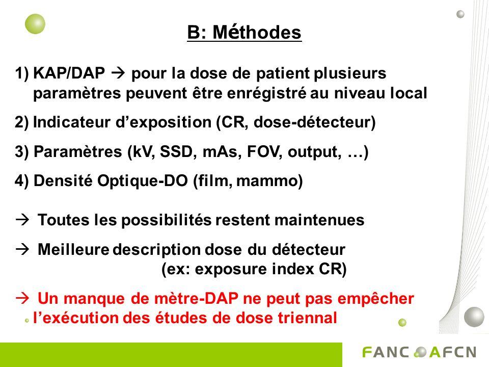 B: Méthodes KAP/DAP  pour la dose de patient plusieurs paramètres peuvent être enrégistré au niveau local.
