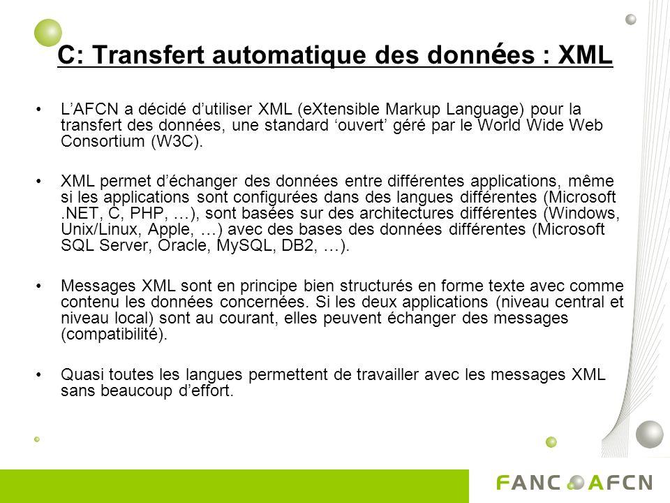 C: Transfert automatique des données : XML