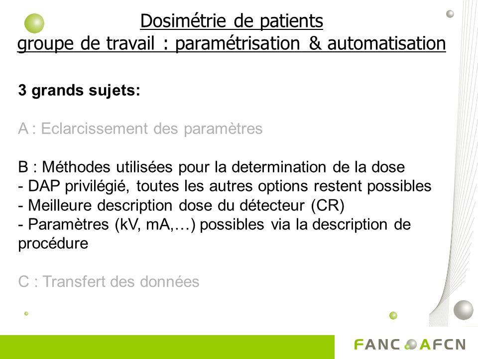 Dosimétrie de patients groupe de travail : paramétrisation & automatisation