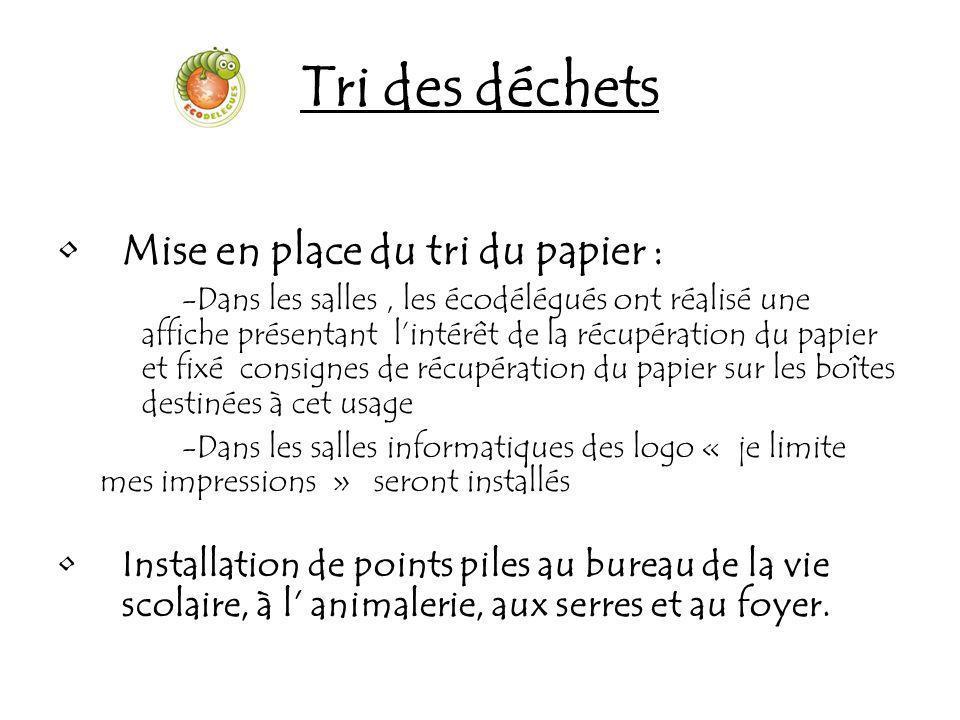 Tri des déchets Mise en place du tri du papier :