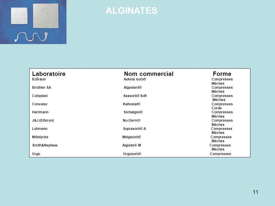 ALGINATES Laboratoire Nom commercial Forme