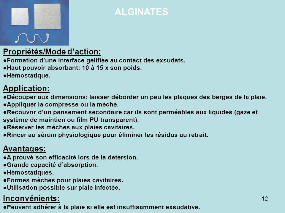 ALGINATES Propriétés/Mode d'action: Application: Avantages: