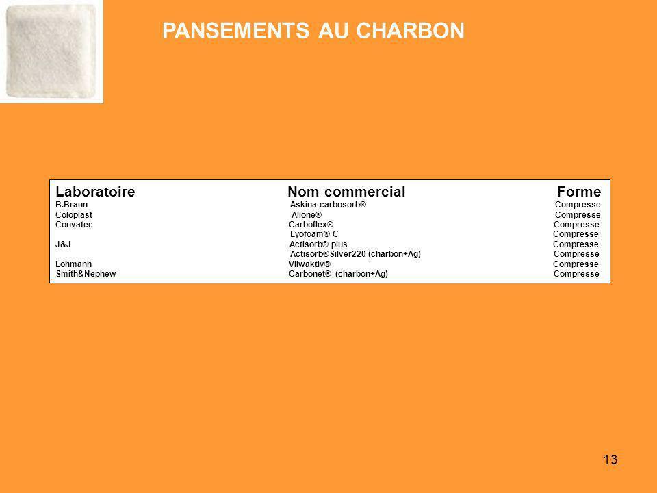 PANSEMENTS AU CHARBON Laboratoire Nom commercial Forme