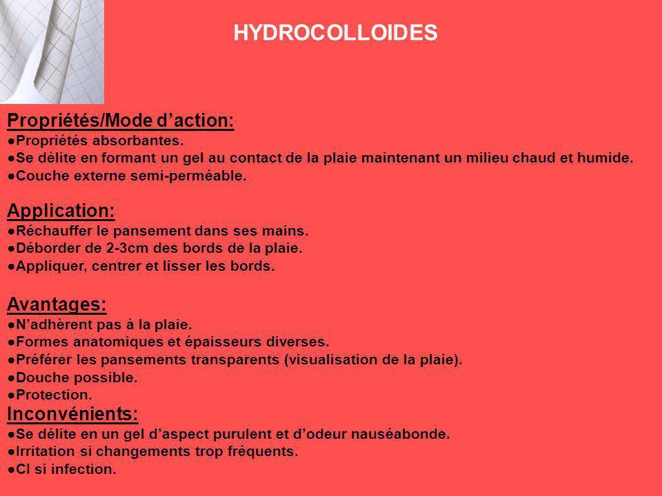 HYDROCOLLOIDES Propriétés/Mode d'action: Application: Avantages: