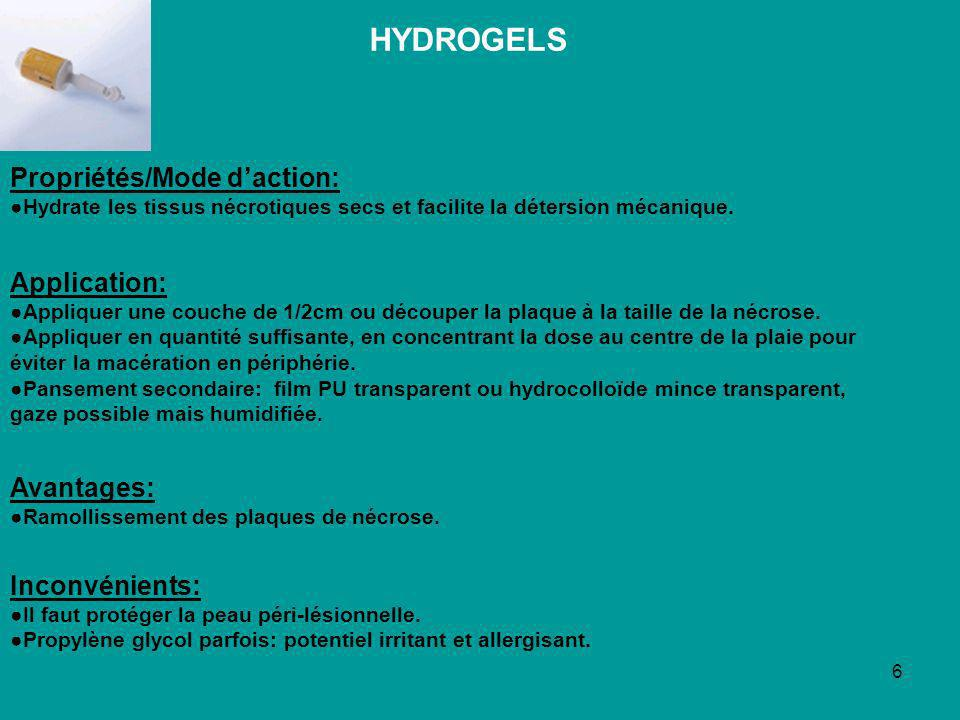 HYDROGELS Propriétés/Mode d'action: Application: Avantages: