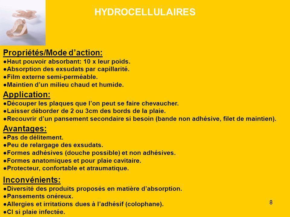 HYDROCELLULAIRES Propriétés/Mode d'action: Application: Avantages: