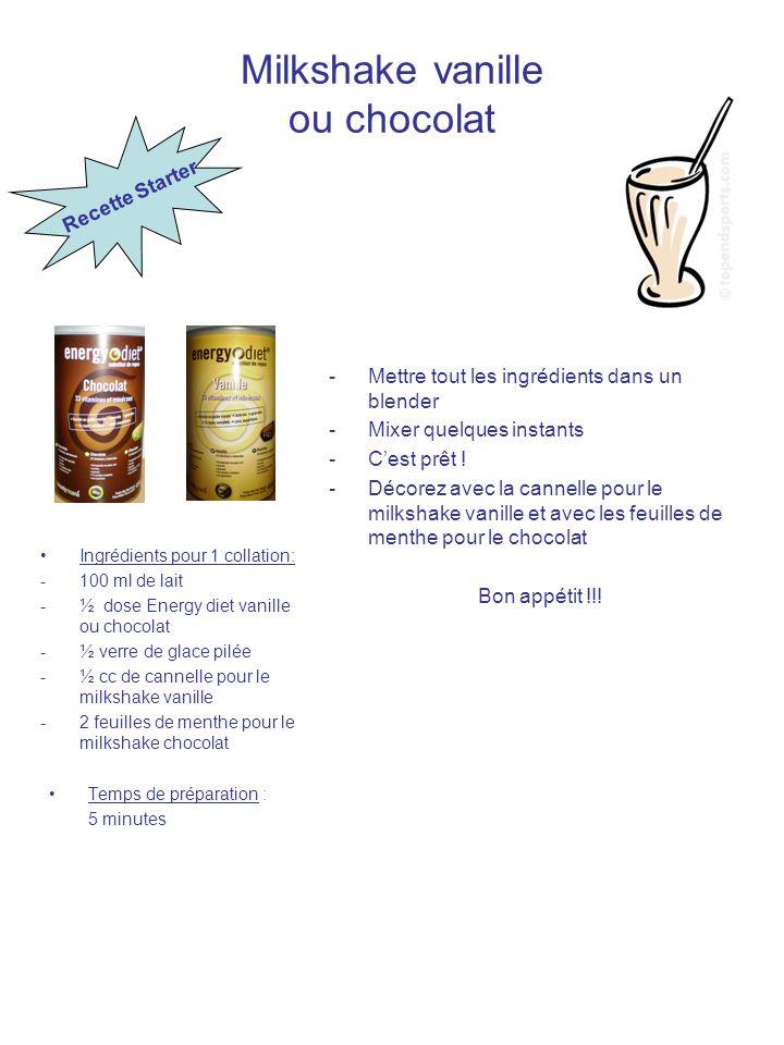Milkshake vanille ou chocolat