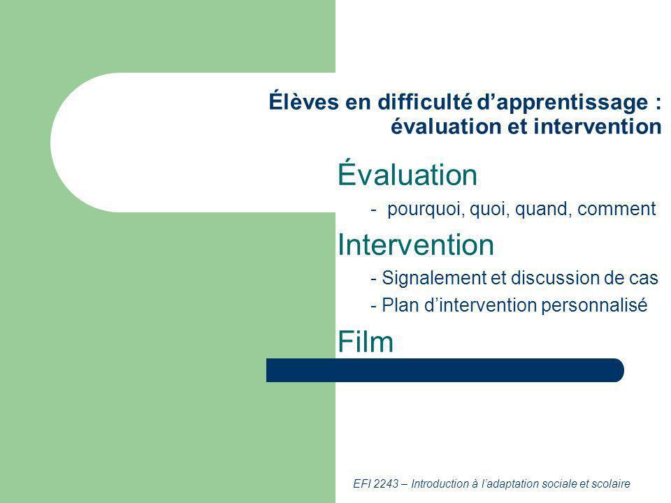 Élèves en difficulté d'apprentissage : évaluation et intervention