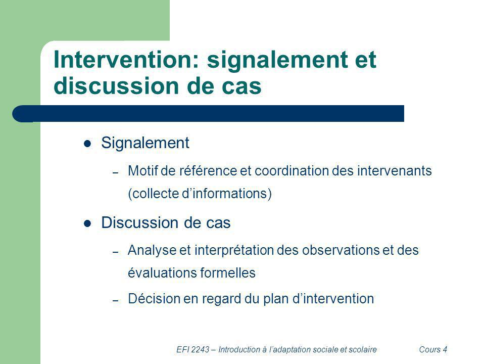 Intervention: signalement et discussion de cas