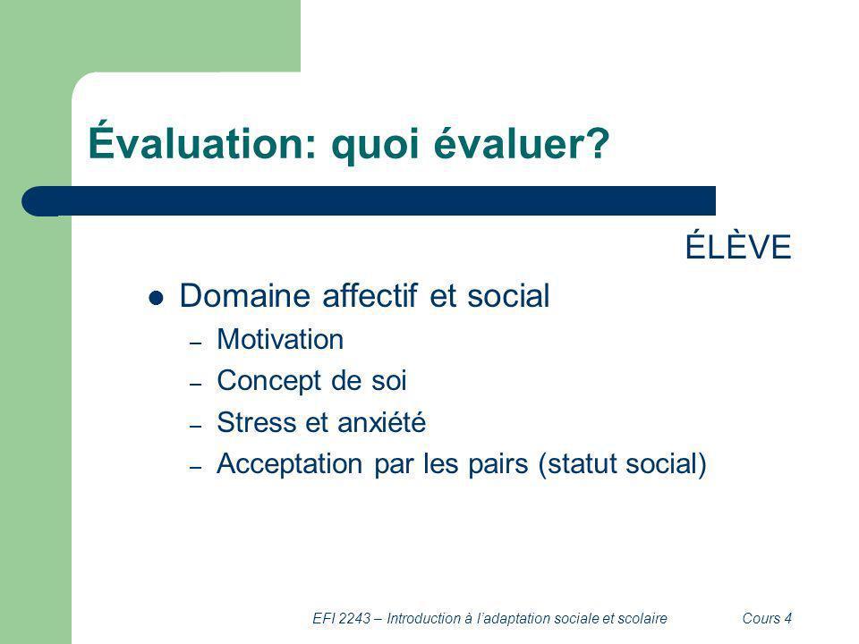 Évaluation: quoi évaluer