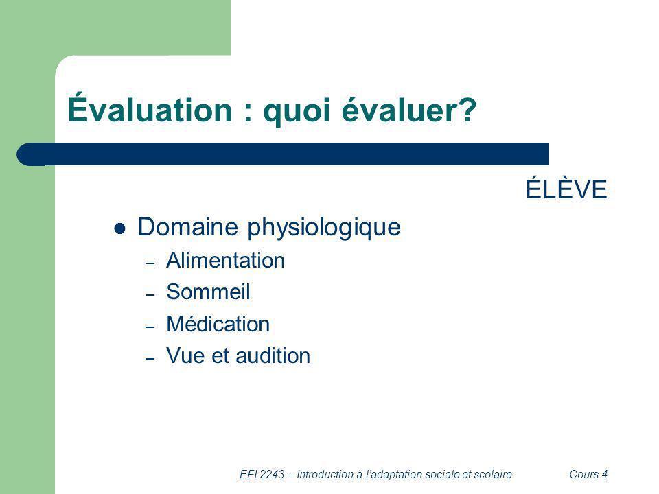 Évaluation : quoi évaluer