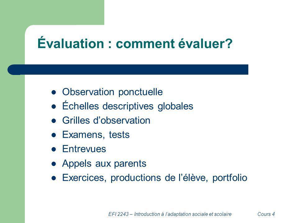 Évaluation : comment évaluer