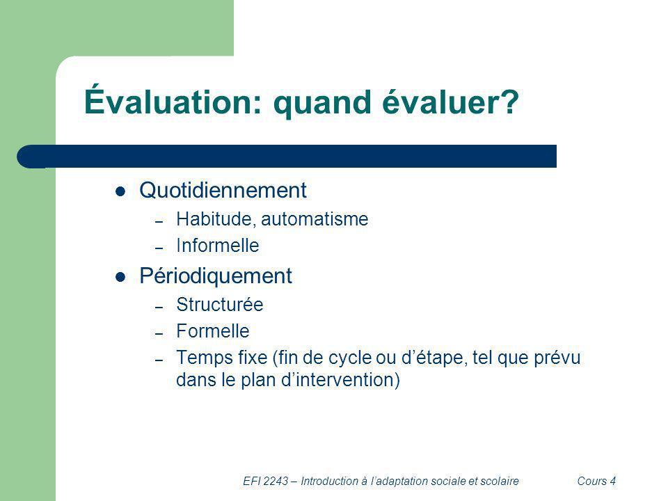 Évaluation: quand évaluer
