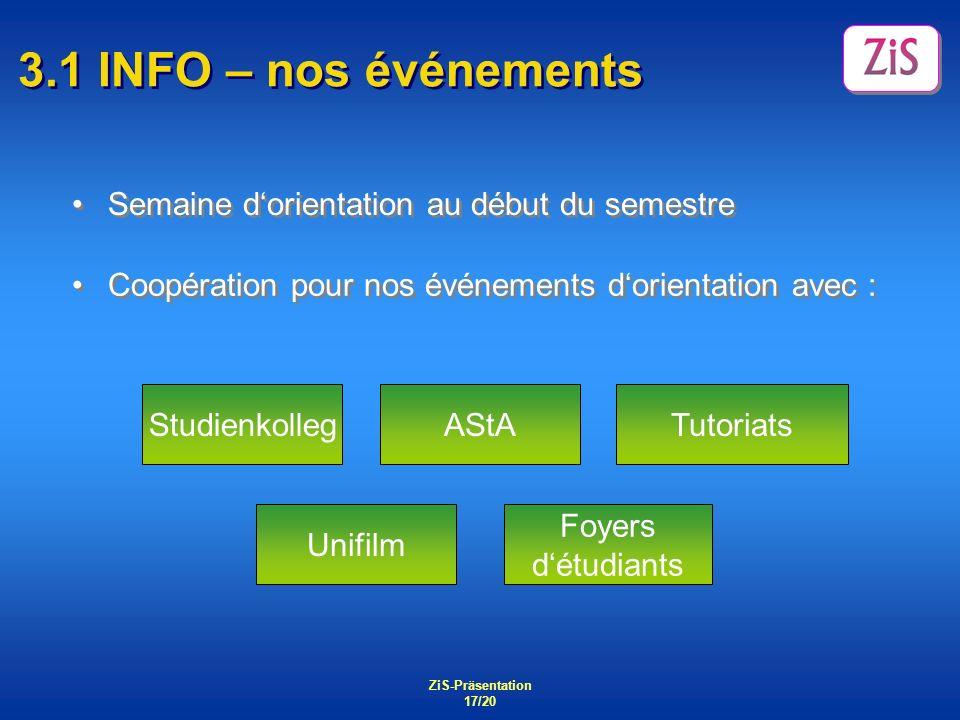 3.1 INFO – nos événements Semaine d'orientation au début du semestre