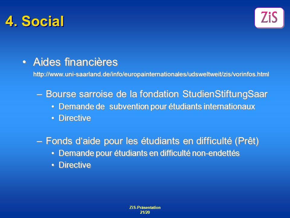 4. Social Aides financières
