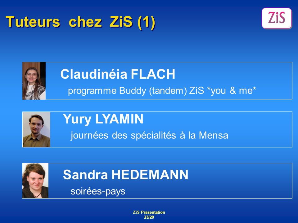 Tuteurs chez ZiS (1) Claudinéia FLACH Yury LYAMIN Sandra HEDEMANN