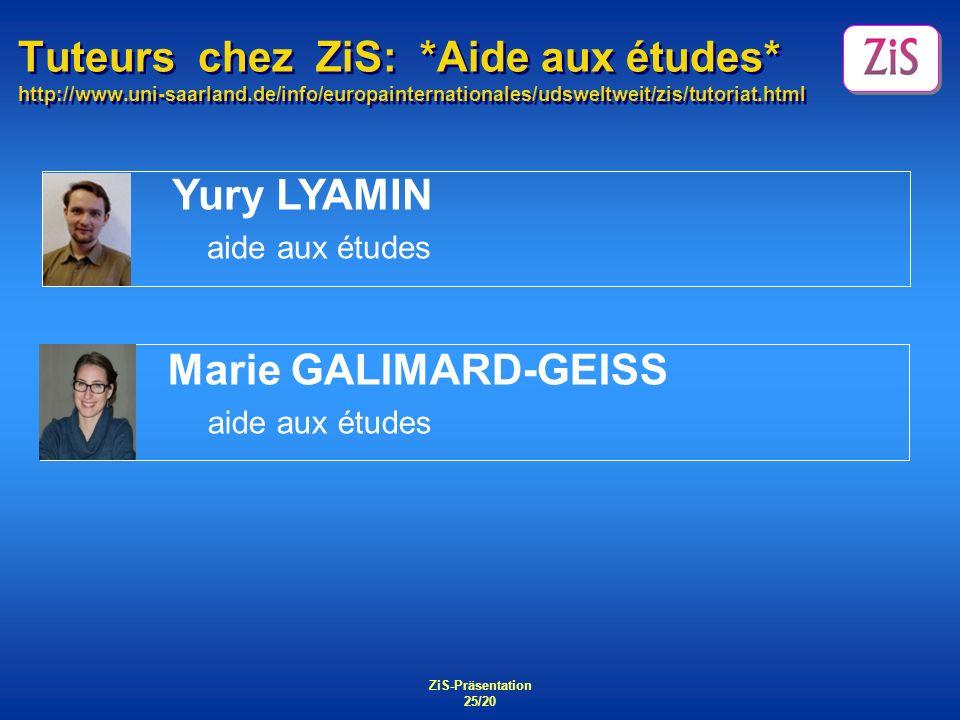 Tuteurs chez ZiS:. Aide aux études. http://www. uni-saarland