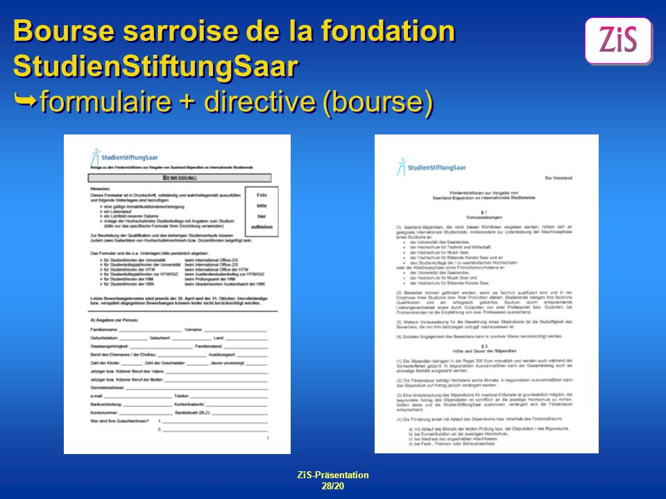 Bourse sarroise de la fondation StudienStiftungSaar formulaire + directive (bourse)