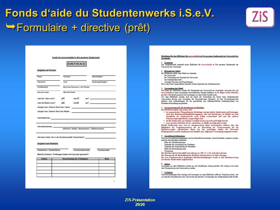 Fonds d'aide du Studentenwerks i.S.e.V. Formulaire + directive (prêt)