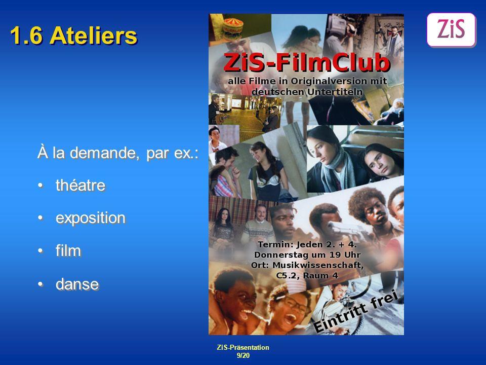 1.6 Ateliers À la demande, par ex.: théatre exposition film danse