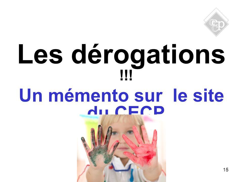 Un mémento sur le site du CECP
