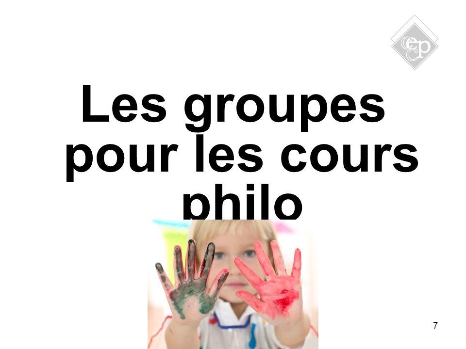 Les groupes pour les cours philo