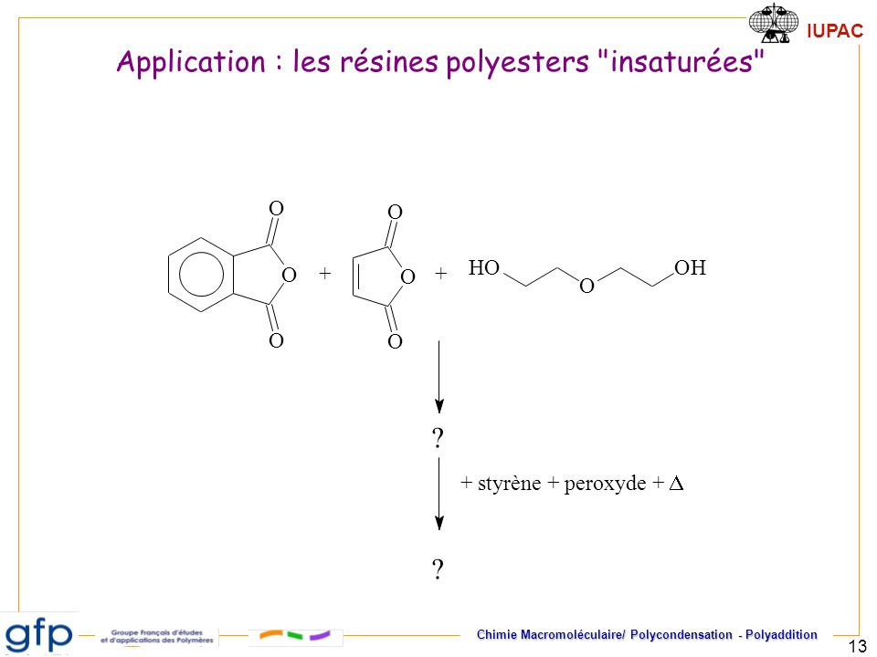 Application : les résines polyesters insaturées