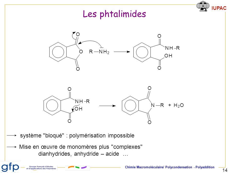 Les phtalimides système bloqué : polymérisation impossible
