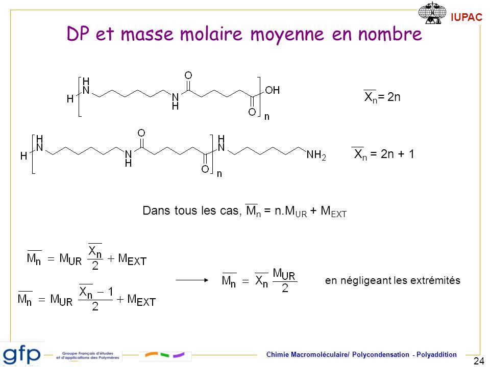 DP et masse molaire moyenne en nombre