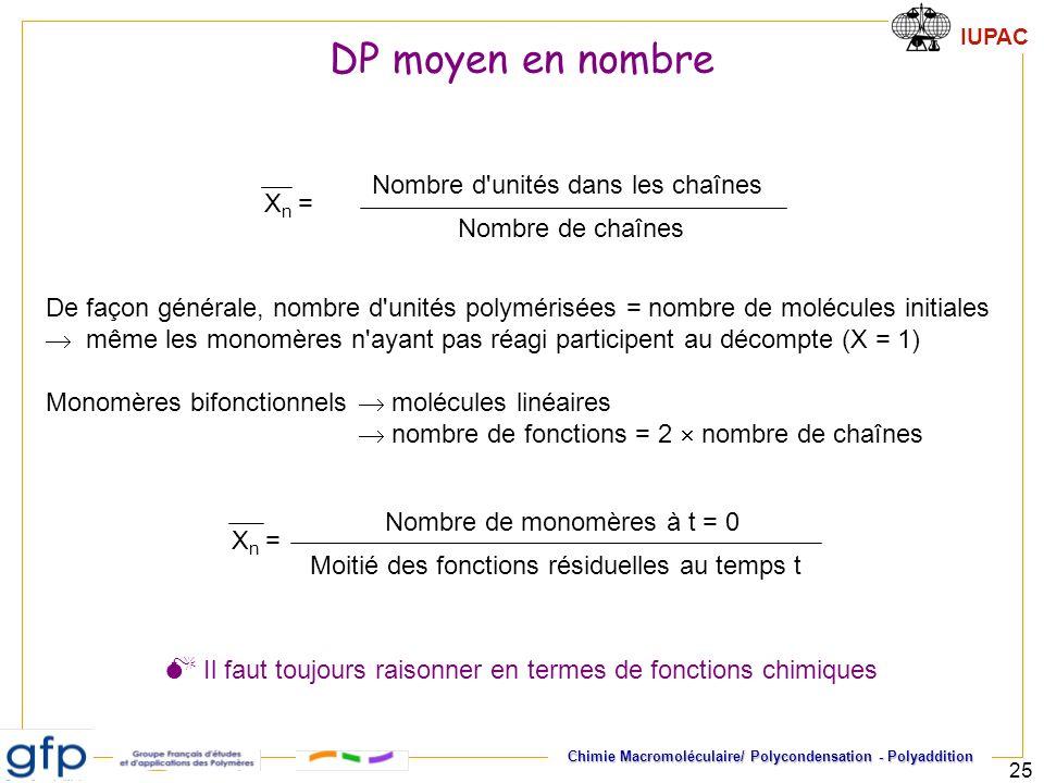 DP moyen en nombre Xn = Nombre d unités dans les chaînes. Nombre de chaînes.