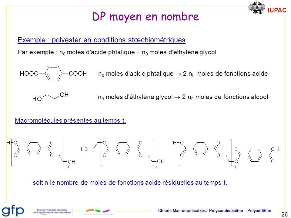 DP moyen en nombre Exemple : polyester en conditions stœchiométriques