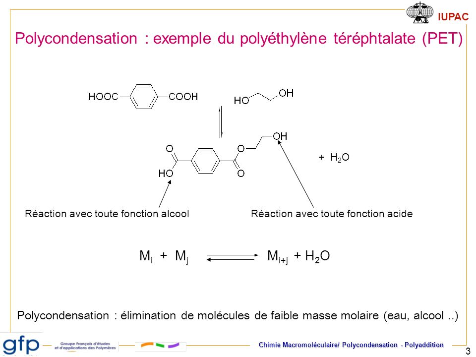 Polycondensation : exemple du polyéthylène téréphtalate (PET)