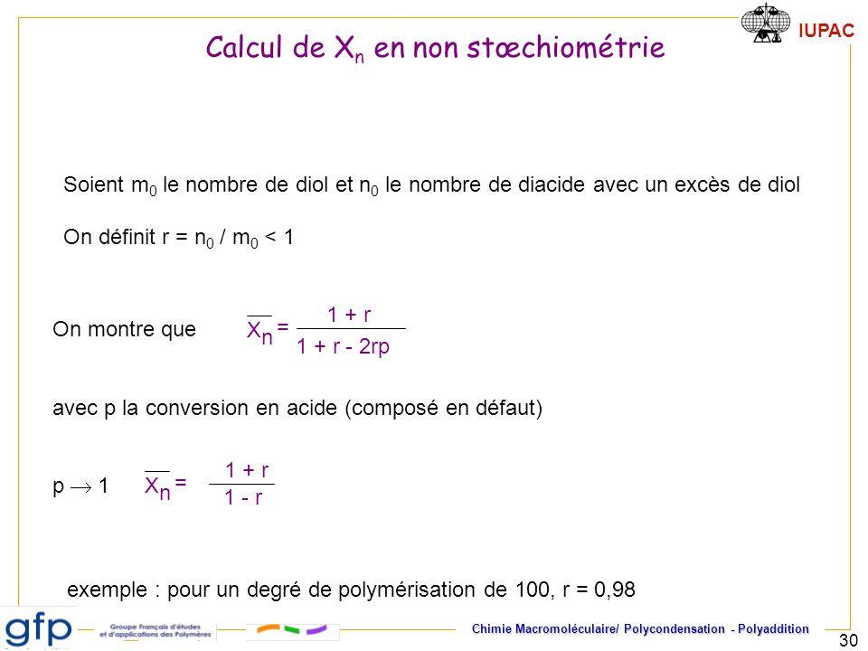 Calcul de Xn en non stœchiométrie
