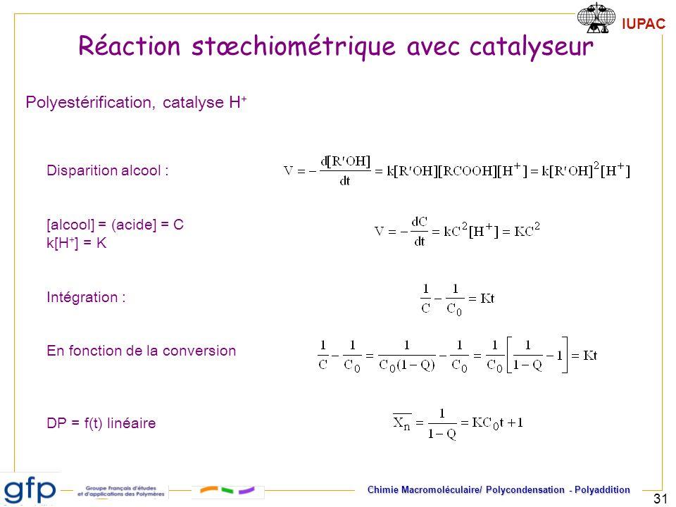 Réaction stœchiométrique avec catalyseur