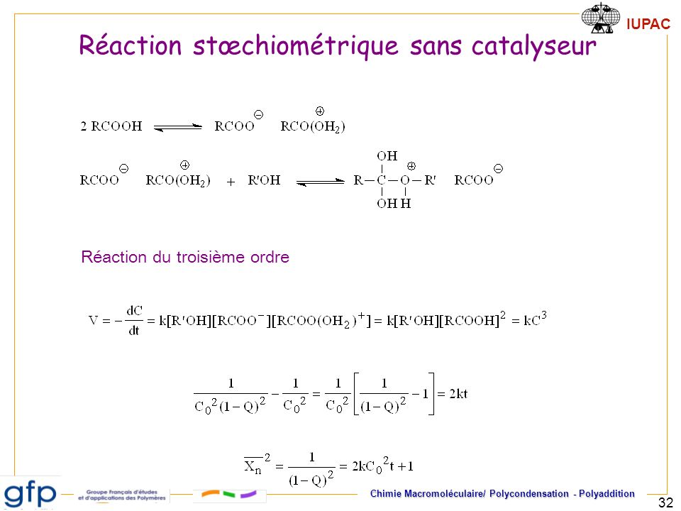Réaction stœchiométrique sans catalyseur