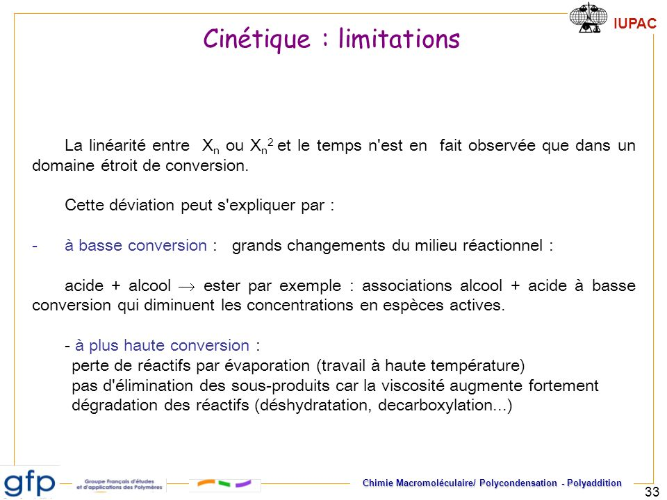 Cinétique : limitations