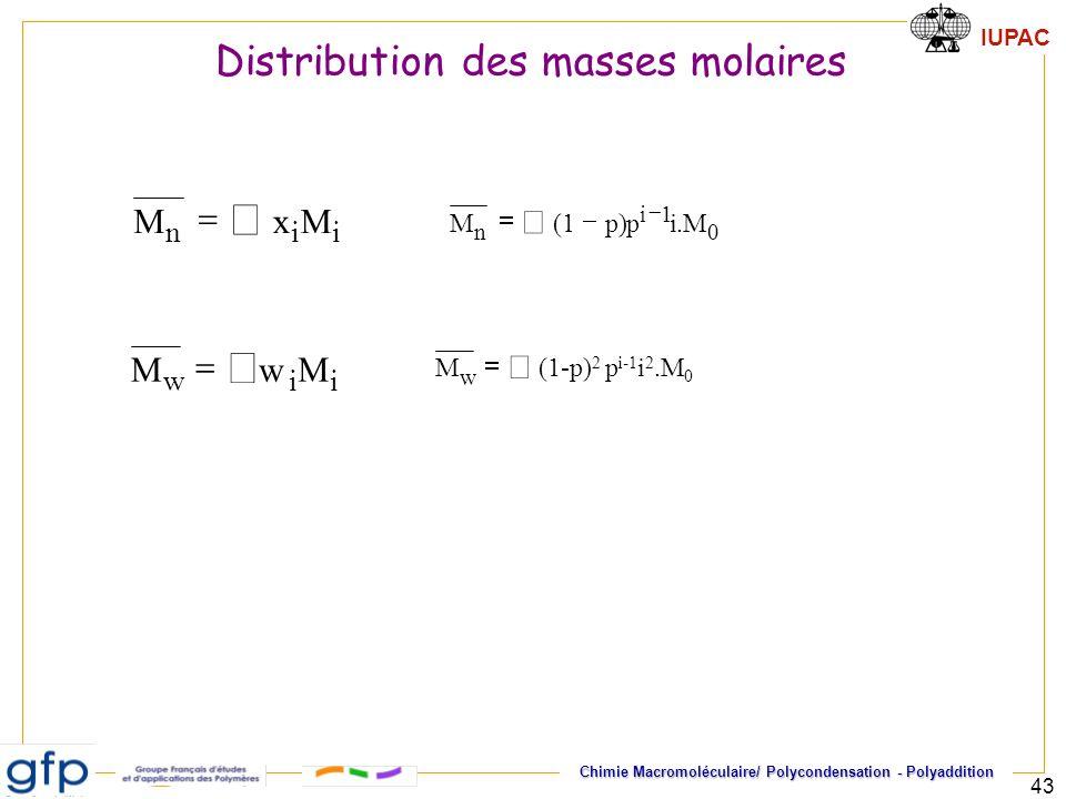 å å Distribution des masses molaires = M x å = M å i n i w = M . p ) (
