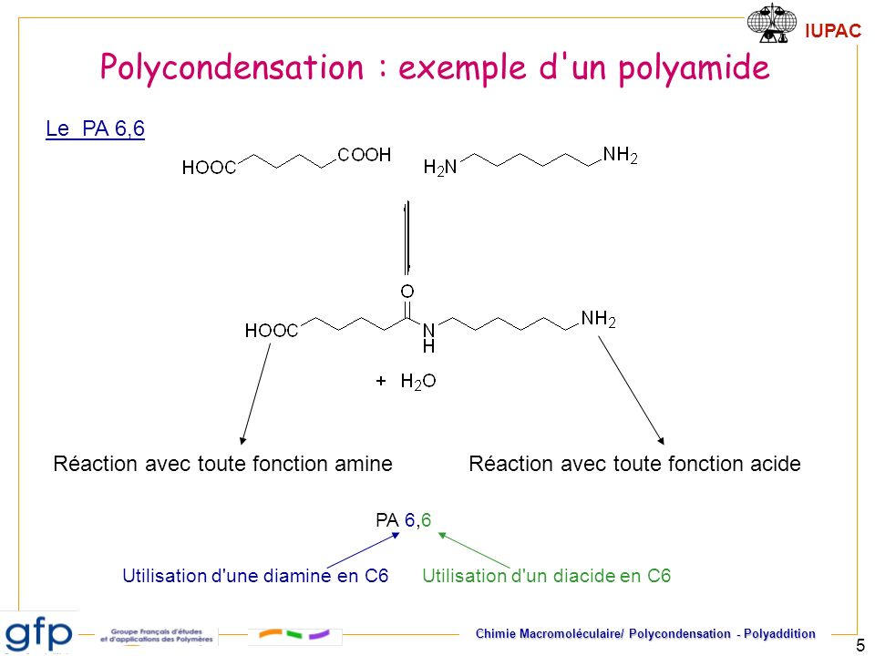 Polycondensation : exemple d un polyamide