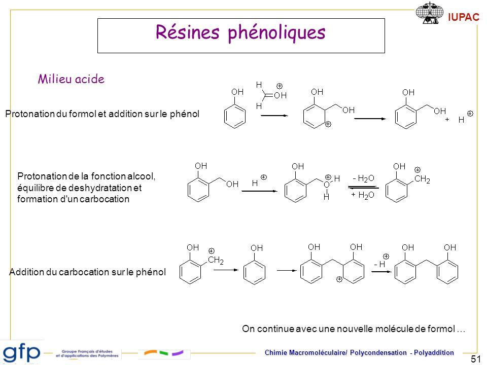 Résines phénoliques Milieu acide