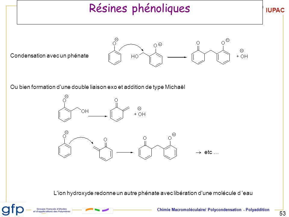 Résines phénoliques Condensation avec un phénate