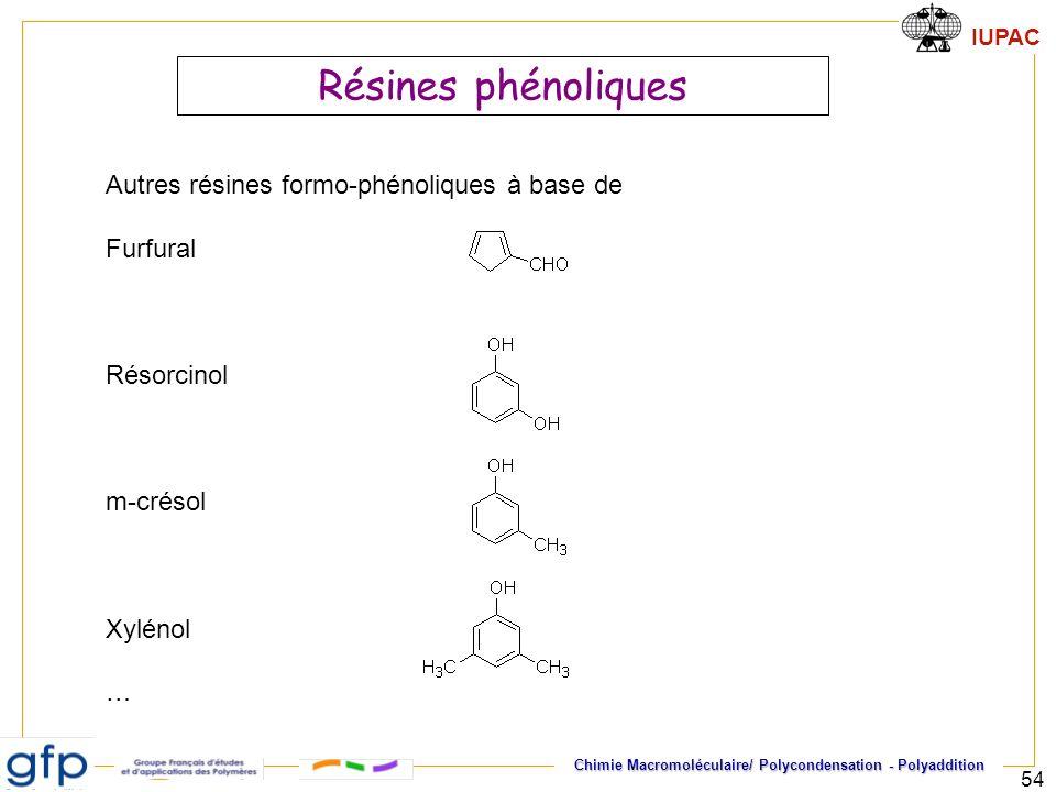 Résines phénoliques Autres résines formo-phénoliques à base de