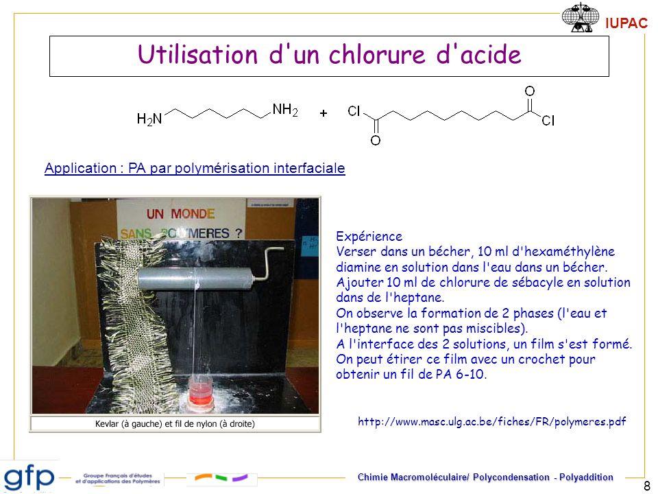 Utilisation d un chlorure d acide