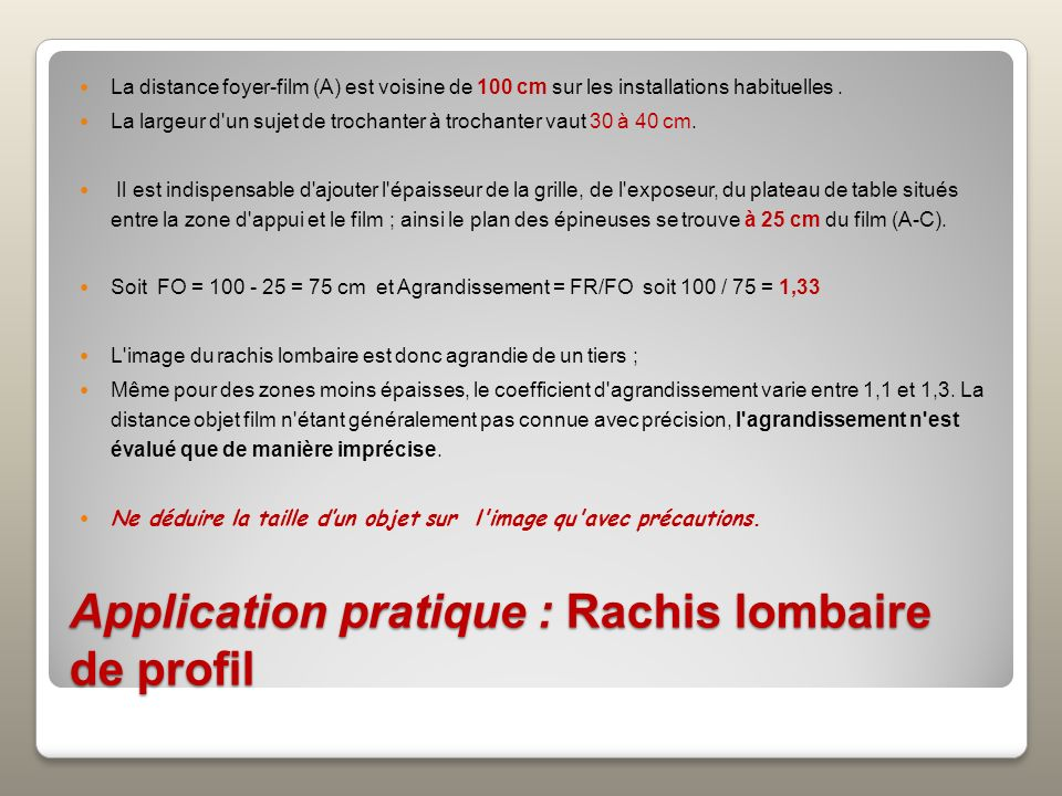 Application pratique : Rachis lombaire de profil