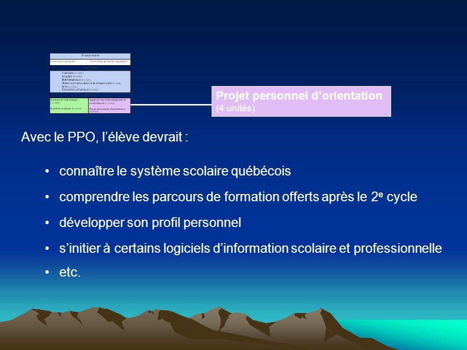 Avec le PPO, l'élève devrait : connaître le système scolaire québécois