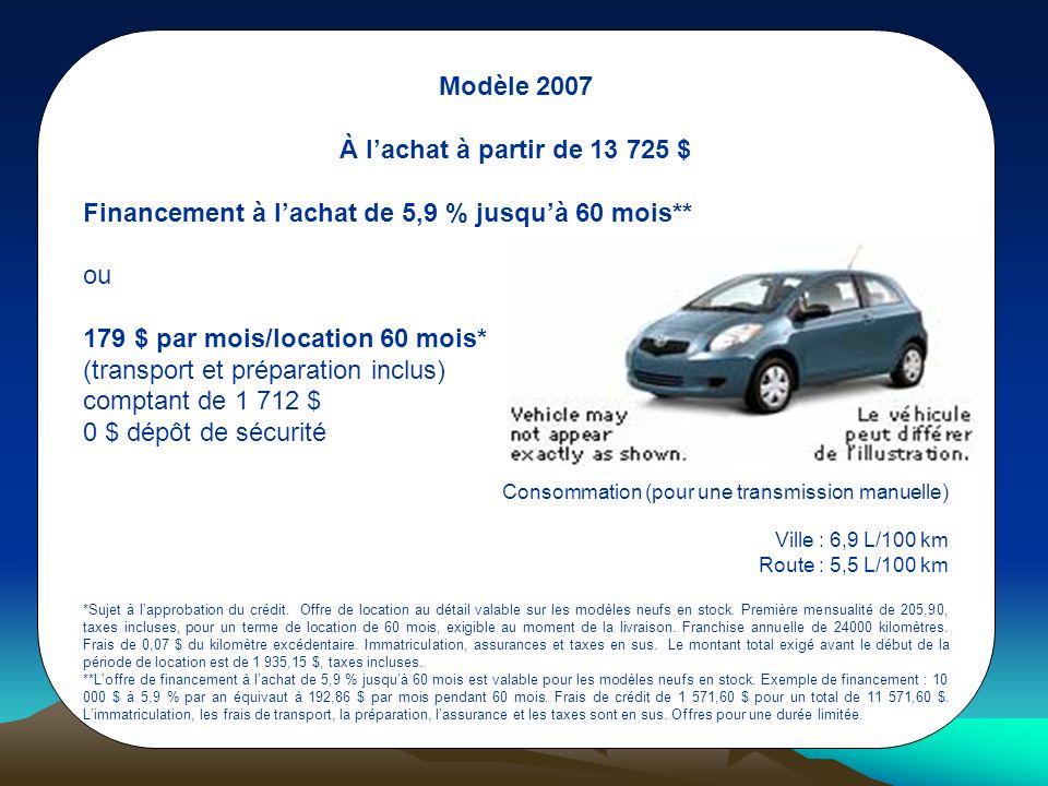 Modèle 2007 À l'achat à partir de 13 725 $