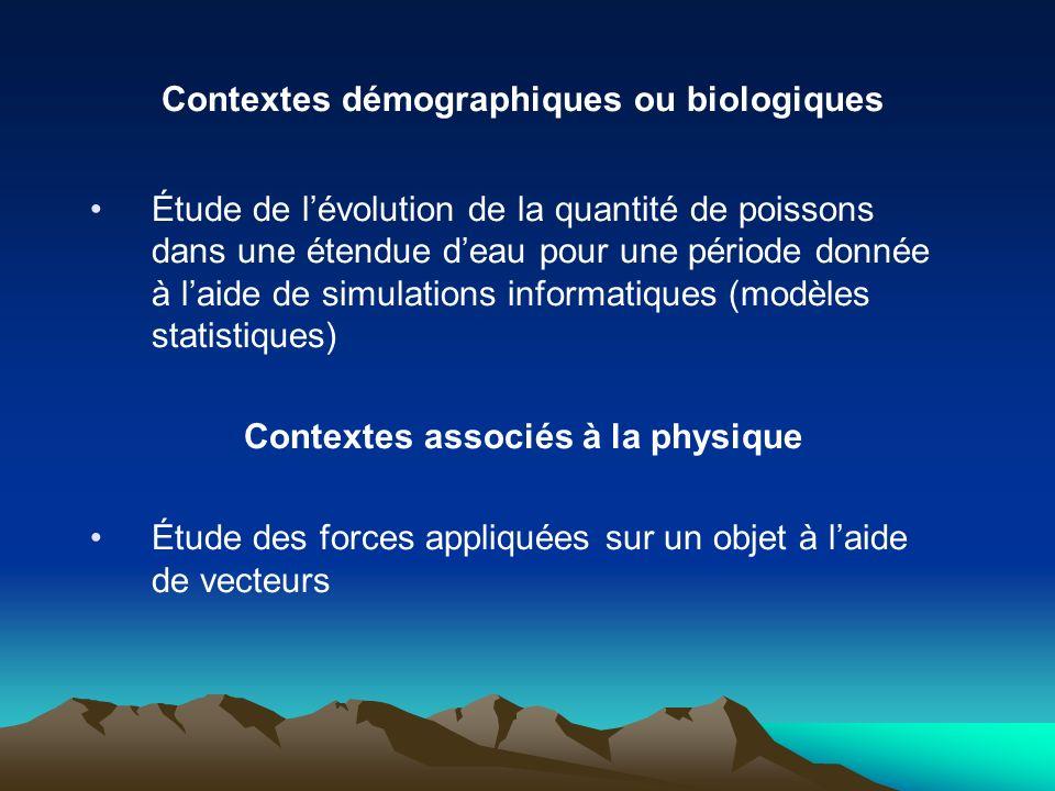 Contextes démographiques ou biologiques