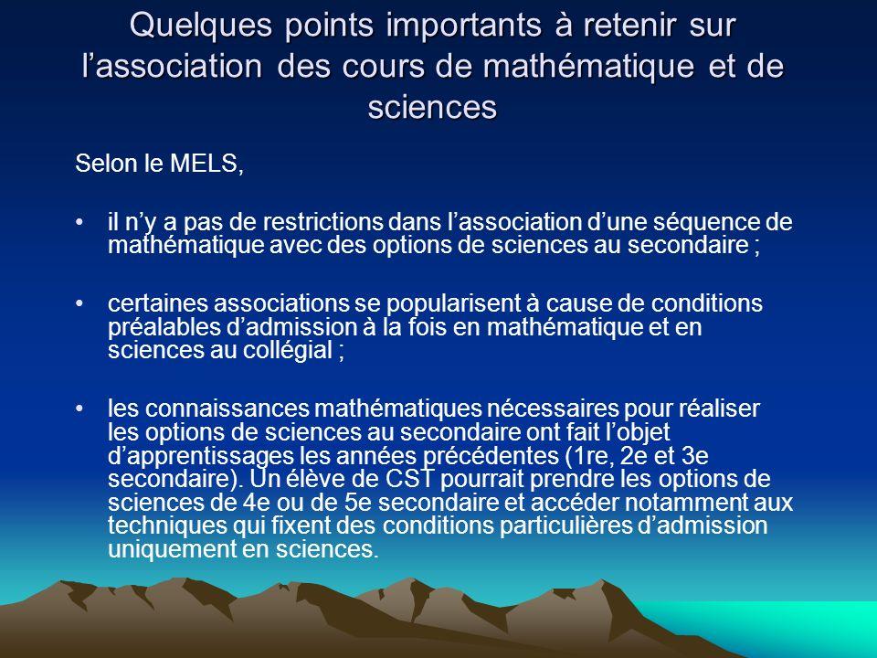 Quelques points importants à retenir sur l'association des cours de mathématique et de sciences