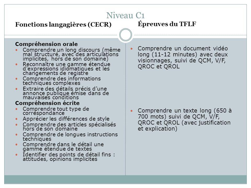 Niveau C1 Fonctions langagières (CECR)