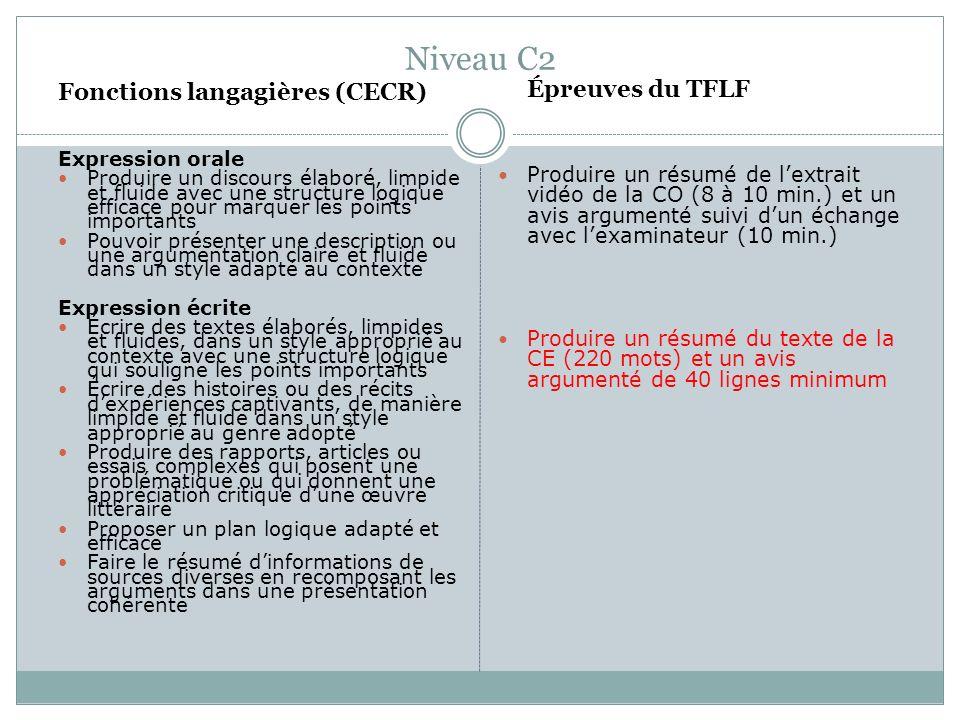 Niveau C2 Fonctions langagières (CECR)